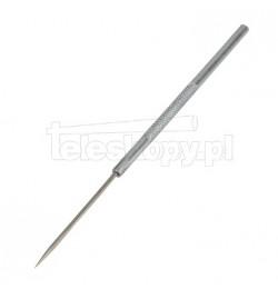 Igła preparacyjna prosta długości 16 cm ze stali nierdzewnej z moletowaną zintegrowaną aluminiową oprawą