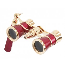 Levenhuk Brodway theatre binocular 3x25 red-gold with handle