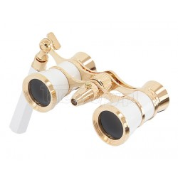 Levenhuk Brodway theatre binocular 3x25 white-gold with chain