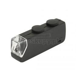 Mikroskop kieszonkowy / lupa TPL 60x-100x - z oświetleniem LED - waga: 30 gramów